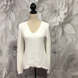 LOFT White V-Neck Long Sleeve Sweater XS